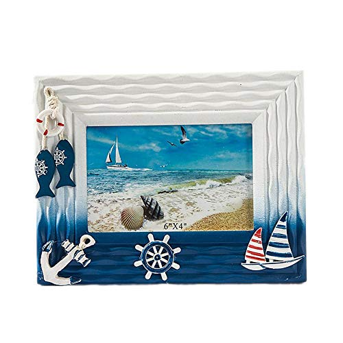 ZhongYi Mediterranean Wood Shell Sea Breeze Frame Ornaments 6 inch 7 inch