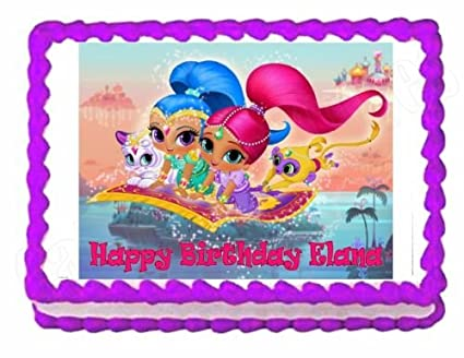 Amazon.com: Shimmer and Shine party edible cake image cake topper ...