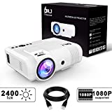 DR.J 2400LUX Mini Projector Max. 170' Display, Full HD LCD Projector Compatible with HDMI/VGA/USB/TF/AV/Sound Bar/PS4/WII/XBOX/TV/FireTV Stick/TV BOX/Laptop [3 Years Warranty] (L8 Projector)