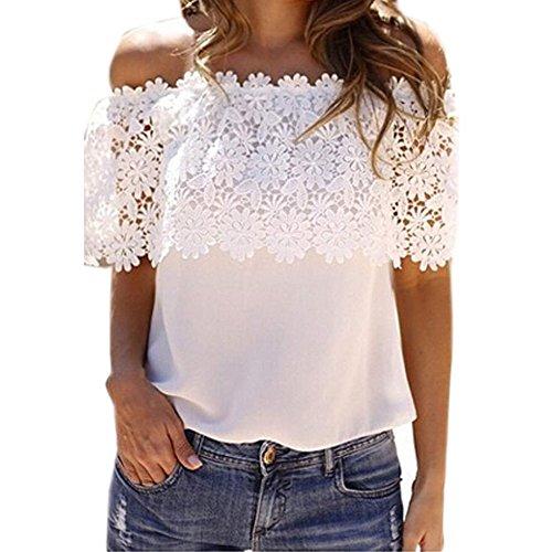 不正直すばらしいですあいまいなSODIAL 女性のファッション的な外側ショルダートップスシャツ かぎ針編みレースシフォンブラウス(白、S)