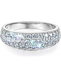 Ladies Solid 14k White Gold Polished CZ Cubic Zirconia Pave Wedding Band