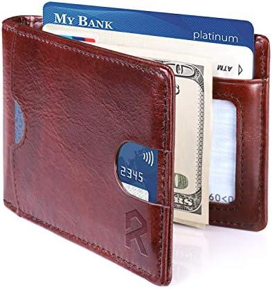REYLEO Cartera para Hombre con Clip, Monedero con RFID Bloqueo para Tarjetas de Crédito Portamonedas Ligeros para Hombre/Adolescente, Marrón