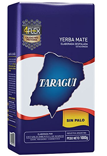 Taragui- Loose Yerba Mate, No Stems- (5 Packs, Each Pack 2.2lb)