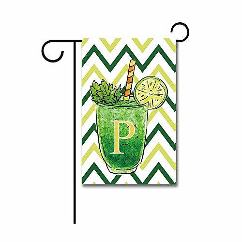 KafePross Welcome Summer a Cup of Lemonade with Stripes Letter Garden Flag Monogram P Banner 12.5