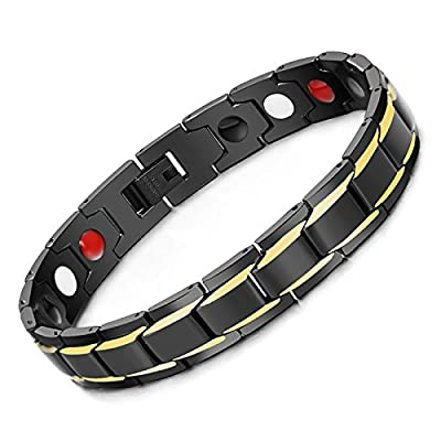 Hottime 316L Stainless Steel Magnetic Therapy Bracelet Pain Relief for Arthritis and Carpal Tunnel