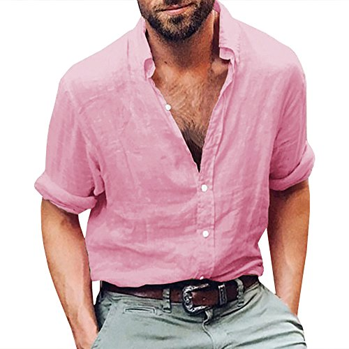 Makkrom Mens Button Down Cotton Linen Shirts Long Sleeve Loose Summer Beach Casual Shirt Tops D-Pink Banded Collar Long Sleeve Work Shirt