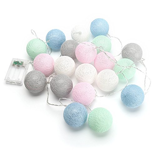cotton ball string lights blue - 9