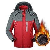 Susanny Men's Outdoor Waterproof Coat Mountain Hooded Down Jacket Fleece Windproof Ski Jacket XL Red