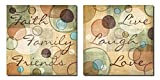 Faith Family Friends and Live Laugh Love Abstract Circles; Two 12X12 Poster Prints