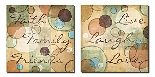 Faith Family Friends and Live Laugh Love Abstract Circles; Two 12X12 Poster Prints by Gango Home Decor