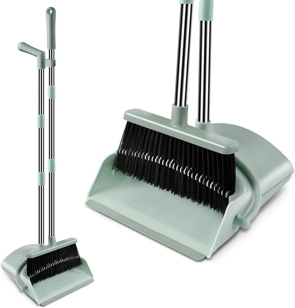 Kelamayi Broom and Dustpan Set, Super Long Handle Lobby Broom, Self-Cleaning with Dust Pan Teeth, Ideal for Home, Kitchen and Office Use (Jade Green)