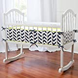 Carousel Designs Navy and Citron Zig Zag Cradle Bumper
