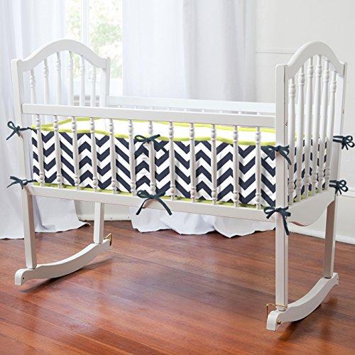 Carousel Designs Navy and Citron Zig Zag Cradle Bumper