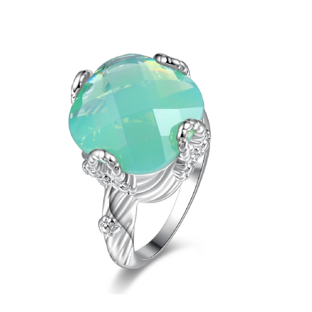 Uloveido Super Big Green Asscher-Shape Stone Engagement Rings for Women  with Birthstone Y348  9863760143ef
