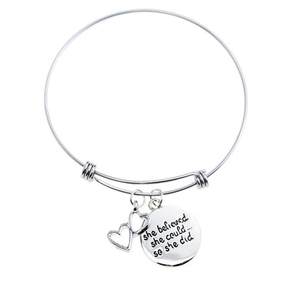 UdobuyExpandable Bangle Bracelet Hearts Charms She Believed She Could so She Did Inspirational Bracelets Silver Charm Bracelets Jewelry BT002#002