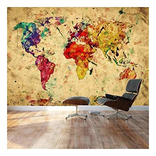 Wall26 - Large Wall Mural - Grunge/Vintage World Map | Self-adhesive Vinyl Wallpaper / Removable Modern Decorating Wall Art - 66