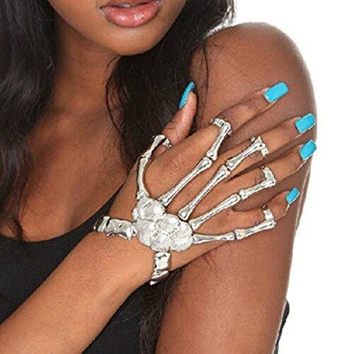 Homedeco Skull Fingers Metal Skeleton Bracelet Ring Hip Hop Street Dancing Cosplay Wristband -
