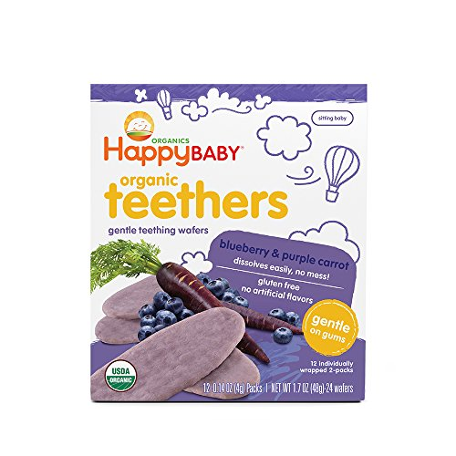Happy Family Baby Organic Teething Wafers, Blueberry and Purple Carrot, 1.7 oz by Happy Family