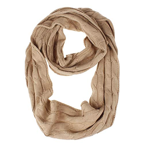 LANDUM Womens Winter Acrylic Fiber Infinity Loop Scarf Solid Color Thicken Braided Cable Knitted Long Ring Blanket Casual Outdoor Wrap 8 Colors Camel - Scarf Cable Easy