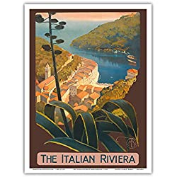 The Italian Riviera - Portofino, Italy - Vintage World Travel Poster by Mario Borgoni c.1920 - Master Art Print - 9in x 12in