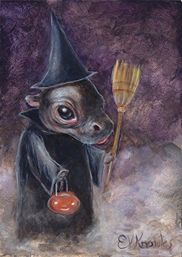 Halloween Hippopotamus Witch Print