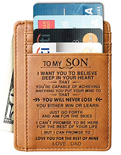 Engraved Leather Front Pocket Wallet Gift for Son Husband Grandson Minimalist Slim Wallet RFID (To My Son - Love Dad)