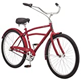 Schwinn Huron Men's Cruiser Bike, Featuring 17-Inch/Medium Steel Frame, Three-Speed Drivetrain, Full Front and Rear Fenders, and 26-Inch Wheels, Red