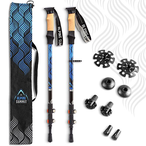 Alpine Summit Trekking Poles Collapsible Hiking / Walking Sticks, 100% Tungsten Tips, Ultralight, Anti-shock, Sweat Absorbing Cork Grips, Flip Locks