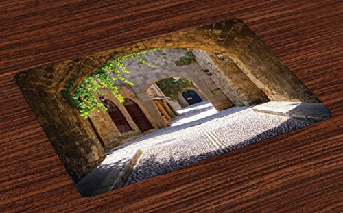 Cheap  Tuscan Place Mats Set of 4 by Lunarable, Ancient Italian Street in..