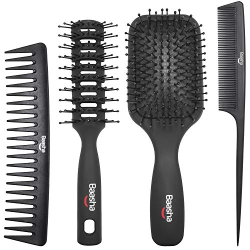 Baasha 4 Pcs Paddle Brush Set, Detangling Brush and Hair Comb Set, Thick Hair Brush Set for Men & Women, No More Tangle…