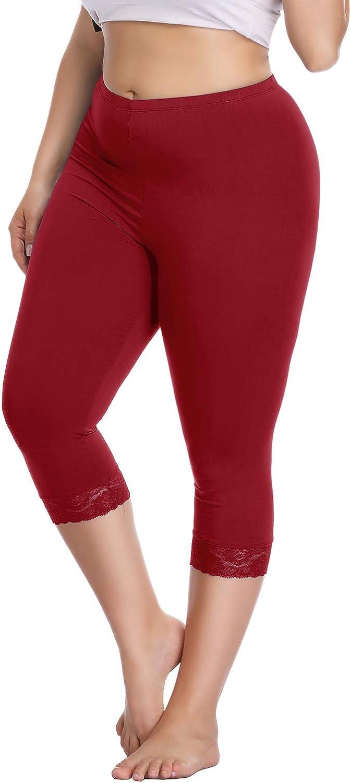 Womens Plus Size Capri Cropped Leggings Stretch Lace Trim Soft Tights Pants