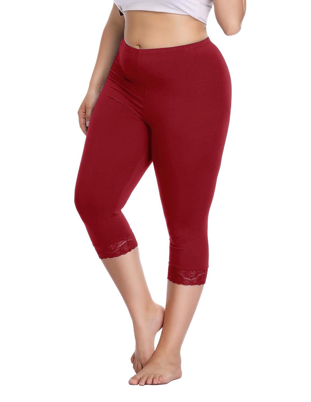 add7f7a224ec7 Women's Plus Size Capri Cropped Leggings Stretch Lace Trim Soft Tights Pants  at Amazon Women's Clothing store: