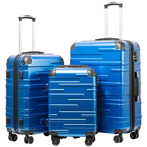 Coolife Luggage Expandable Suitcase 3 Piece Set with TSA Lock Spinner 20in24in28in (blue)
