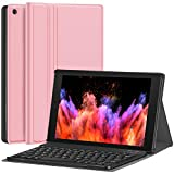 Fire HD 10 Case with Keyboard - CHESONA Slim PU Leather Folio Stand Cover with Detachable Wireless Keyboard Case for Fire HD 10.1' (7th Generation/9th Generation, 2017/2019 Release) - Rose Gold