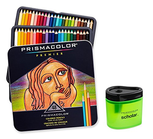 [Prismacolor Premier Soft Core Colored Pencil, Set of 48 Assorted Colors (3598T) + Prismacolor Scholar Colored Pencil Sharpener (1774266)] (48 Color Set)