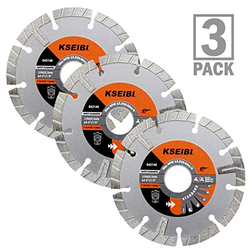 KSEIBI 642146 Premium Wet Diamond Saw Blade 4 1/2 Inch Turbo Rim T Type Tile Cutting Tools For Concrete Masonry Granite Porcelain Stone Ceramic Brick Cutting Wheels For Angle Grinder ()