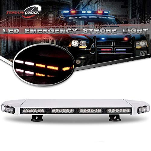 - TERRAIN VISION 56 LED 27 Inch Amber White Emergency Warning Strobe Lights Flash Directional Roof Top Led Light Bar for Snow Plow Truck Mail Carrier Pickup Truck Jeep Dodge Ram RZR SUV Silverado Ford