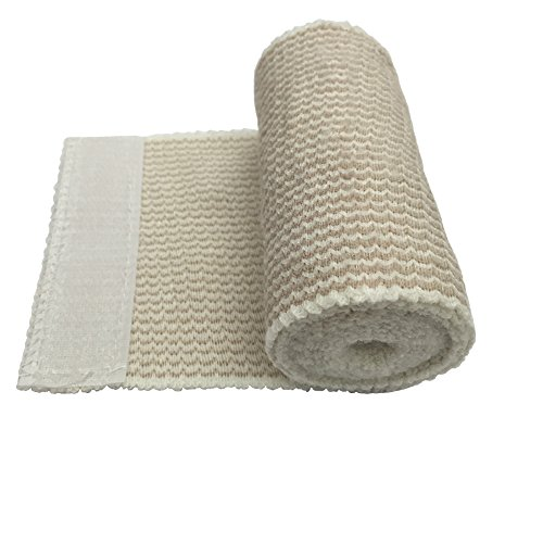 Cotton Elastic Bandage 2 Pack. 4 Inches Wide x  with Hook an