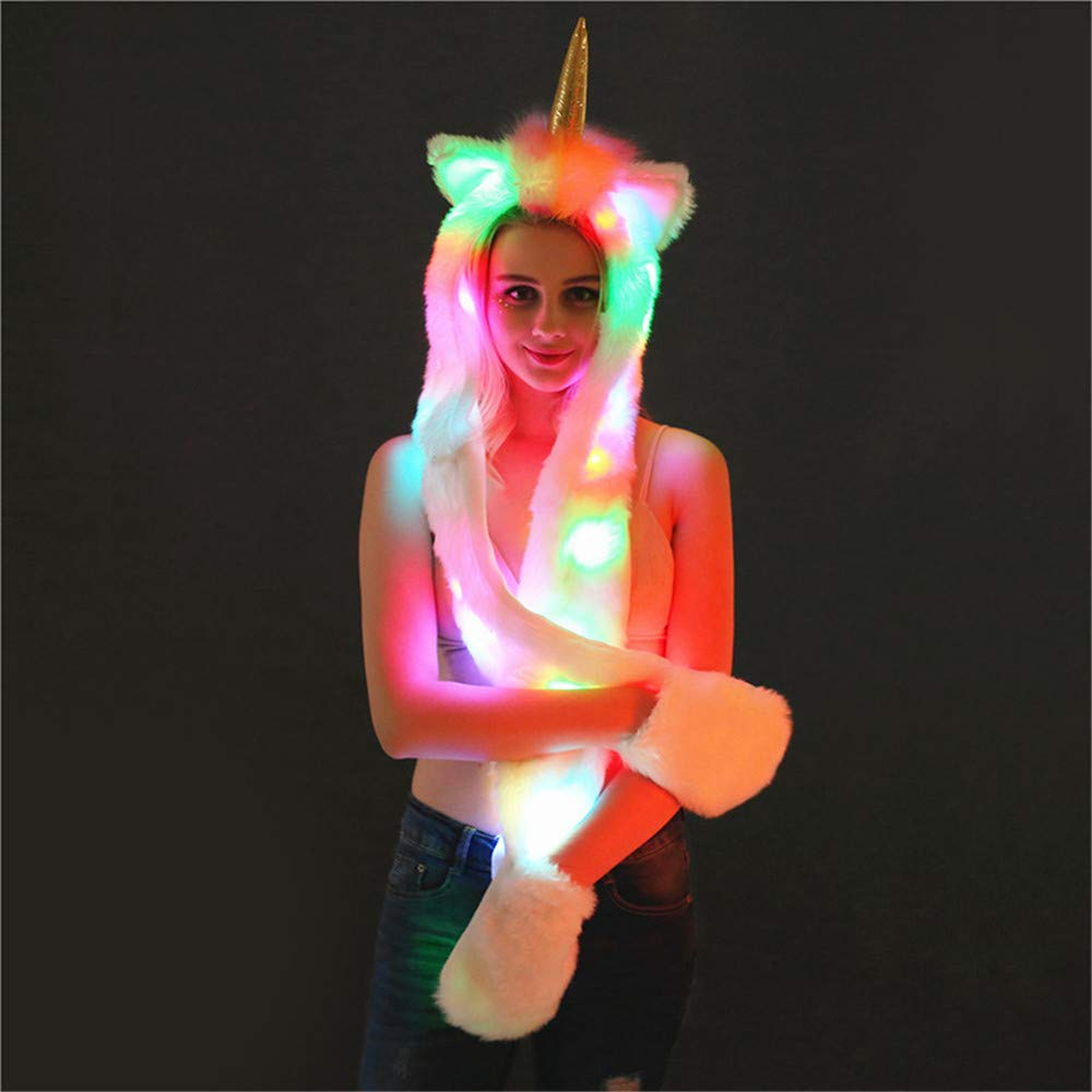 Novelty LED Scarf Hat Light up Soft White Rave Xmas Christmas Halloween Party