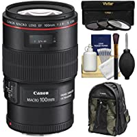 Canon EF 100mm f/2.8 L IS Macro USM Lens with Canon Backpack + 3 Filters Kit for EOS 6D, 70D, 7D, 5DS, 5D Mark II III, Rebel T5, T5i, T6i, T6s Camera