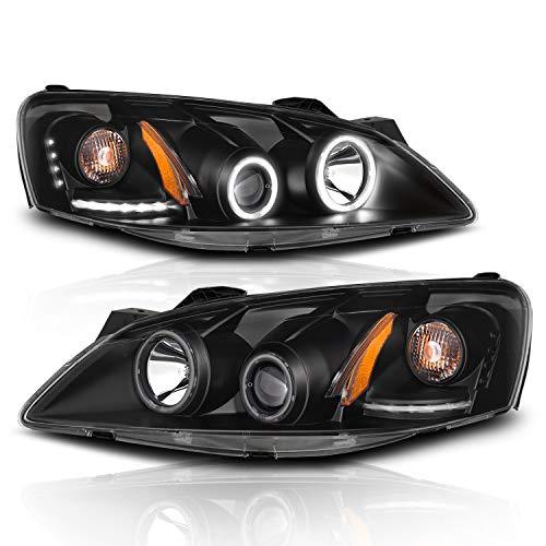 AmeriLite Projector Headlights Black Amber(CCFL Halo) for Pontiac G6 - Passenger and Driver Side