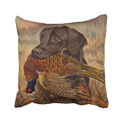 Hunting Design - Accrocn Throw Pillow Covers Vintage Real Vivid Hound Hunting Rustic Style Oil Painting Cushion Decorative Pillowcases Polyester 18 x 18 Inch Square Pillowcase Hidden Zipper