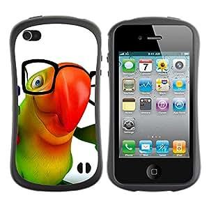 Paccase / Suave TPU GEL Caso Carcasa de Protección Funda para - Cute Friendly Parrot - Apple Iphone 4 / 4S