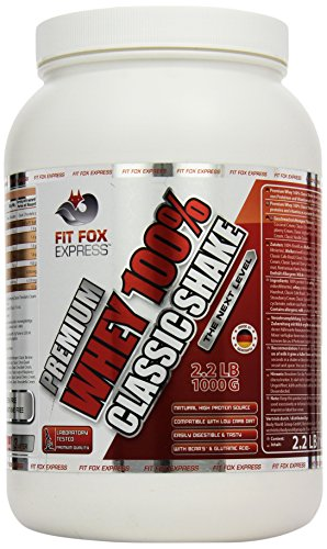 Fit Fox Express Premium Whey 100% Protein, Eiweißshake, Molkenprotein mit Dosierlöffel, Classic Strawberry Cream, 1er Pack (1 x 1 kg)
