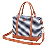 Women's Travel Duffel Bag LOSMILE Carry-on Bag Weekend Tote Bag Overnight Bag (Navy Blue Stripe)