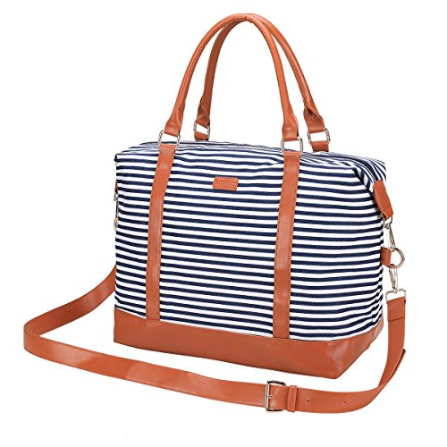Women's Travel Duffel Bag LOSMILE Carry-on Bag Weekend Tote Bag Overnight Bag (Navy Blue Stripe) (Easy Tote Zip)