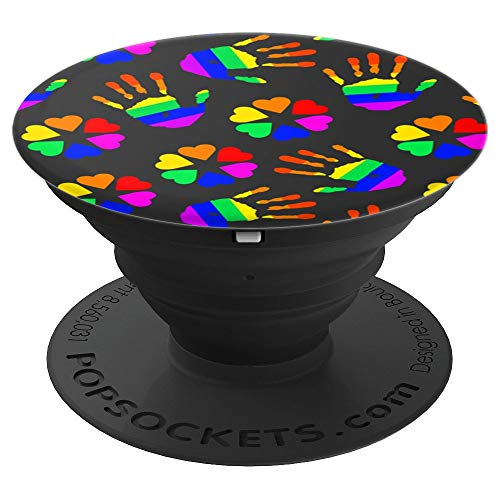 LGBT Clover Hearts and Rainbow Flag Handprints - PopSockets Grip and Stand for Phones and Tablets]()