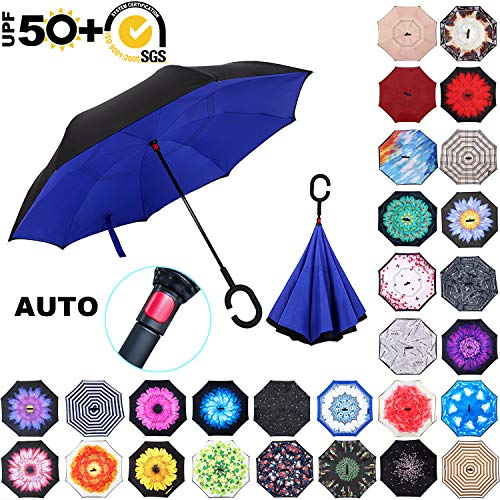 ABCCANOPY Inverted Umbrella,Double Layer Reverse Rain&Wind Teflon Repellent Umbrella for Car and Outdoor Use, Windproof UPF 50+ Big Straight Umbrella with C-Shaped Handle, Rpyal Blue