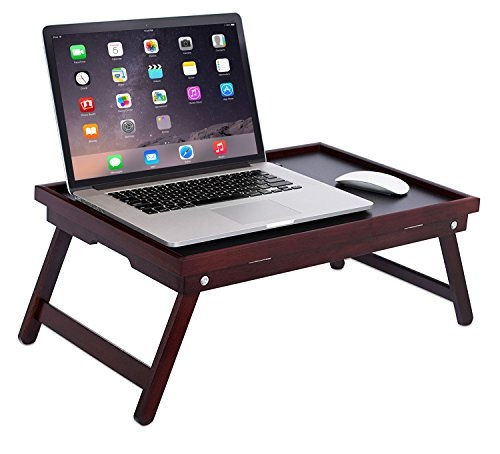 (BirdRock Home Bamboo Lap Tray with Black Top - Foldable Breakfast Serving Bed Tray - Lap Desk with Wide Tilting Top - Laptop Stand - Walnut )