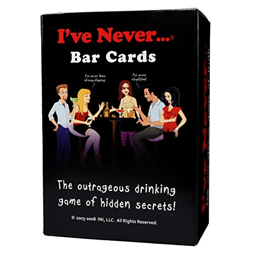 I've Never Bar Cards    The greatest game ever invented has now been brought to life. This game never gets boring, always works, and is guaranteed to make you the life of the party. And, you will never have to worry about coming up with I've ...